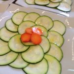 Courgette and pickled radishes